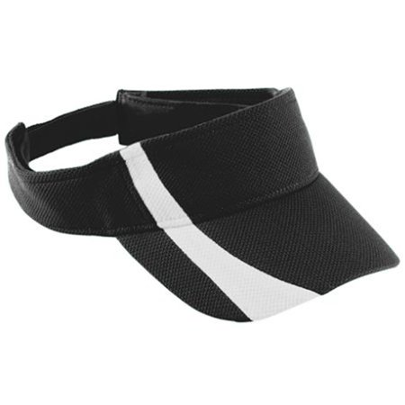 Youth Adjustable Wicking Mesh Two-Color Visor, Black White, One