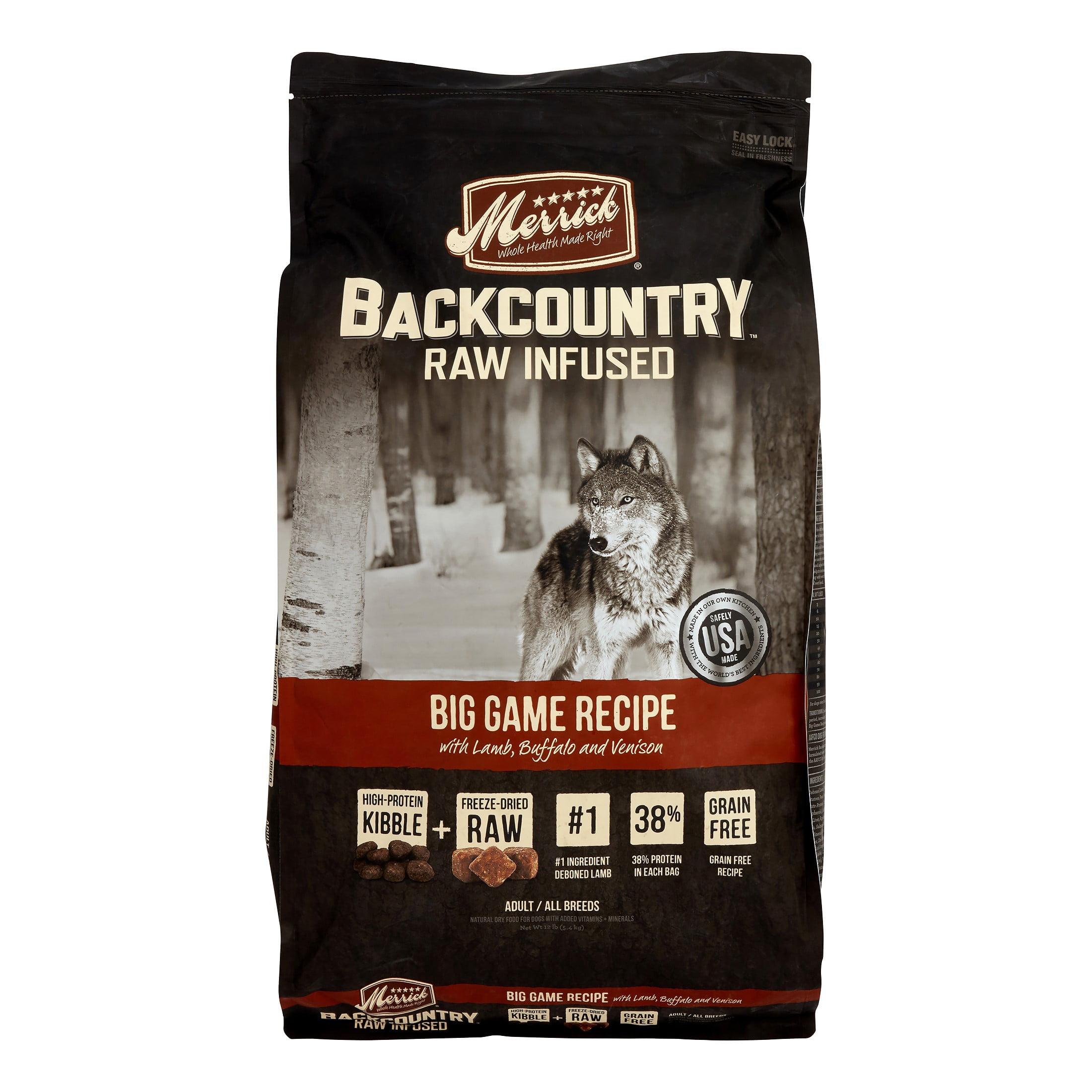 Merrick Backcountry Grain-Free Raw Infused Big Game Recipe Dry Dog Food, 12 lb