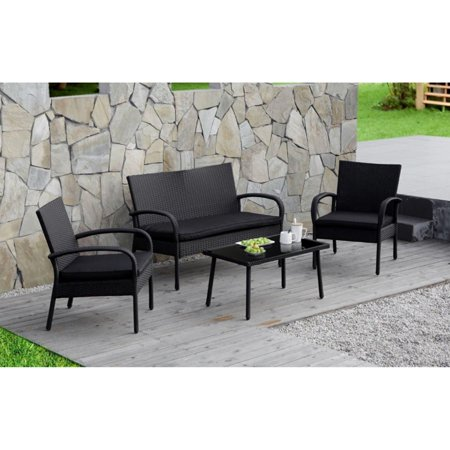 Outdoor 4 PC Wicker Rattan Patio Sectional Set Sofa Glass Table Loveseat Black