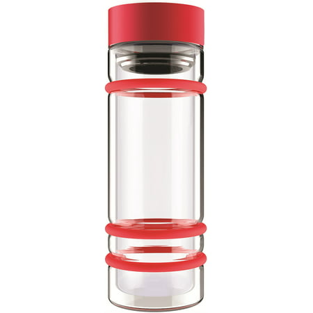 ASOBU Simply Clear Insulated Water Bottle/Travel Mug, Red - 14 oz