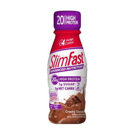 SlimFast Advanced Nutrition High Protein Ready to Drink Meal Replacement Shakes, Creamy Chocolate, 11 fl. oz., Pack of 4