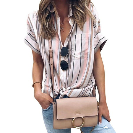 711ONLINESTORE Women Short Sleeve Stripeed Button Down Front Pocket (Button Down Chest Pocket Oxfords)