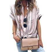 711ONLINESTORE Women Short Sleeve Stripeed Button Down Front Pocket Top