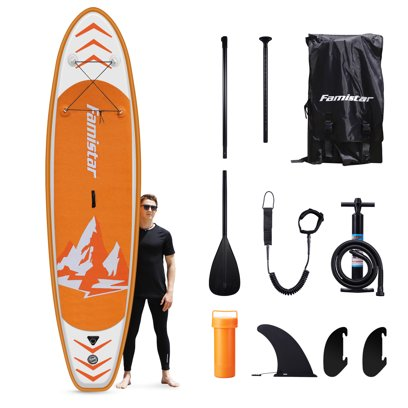 Famistar 12′ Inflatable Stand Up Paddle Board with 3 Fins, Adjustable Paddle, Pump & Carrying Backpack