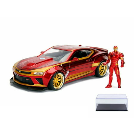 Diecast Car & Display Case Package - 2016 Chevy Camaro SS with Iron Man Figure, Avengers - Jada 99724 - 1/24 Scale Diecast Model Toy Car w/Display Case