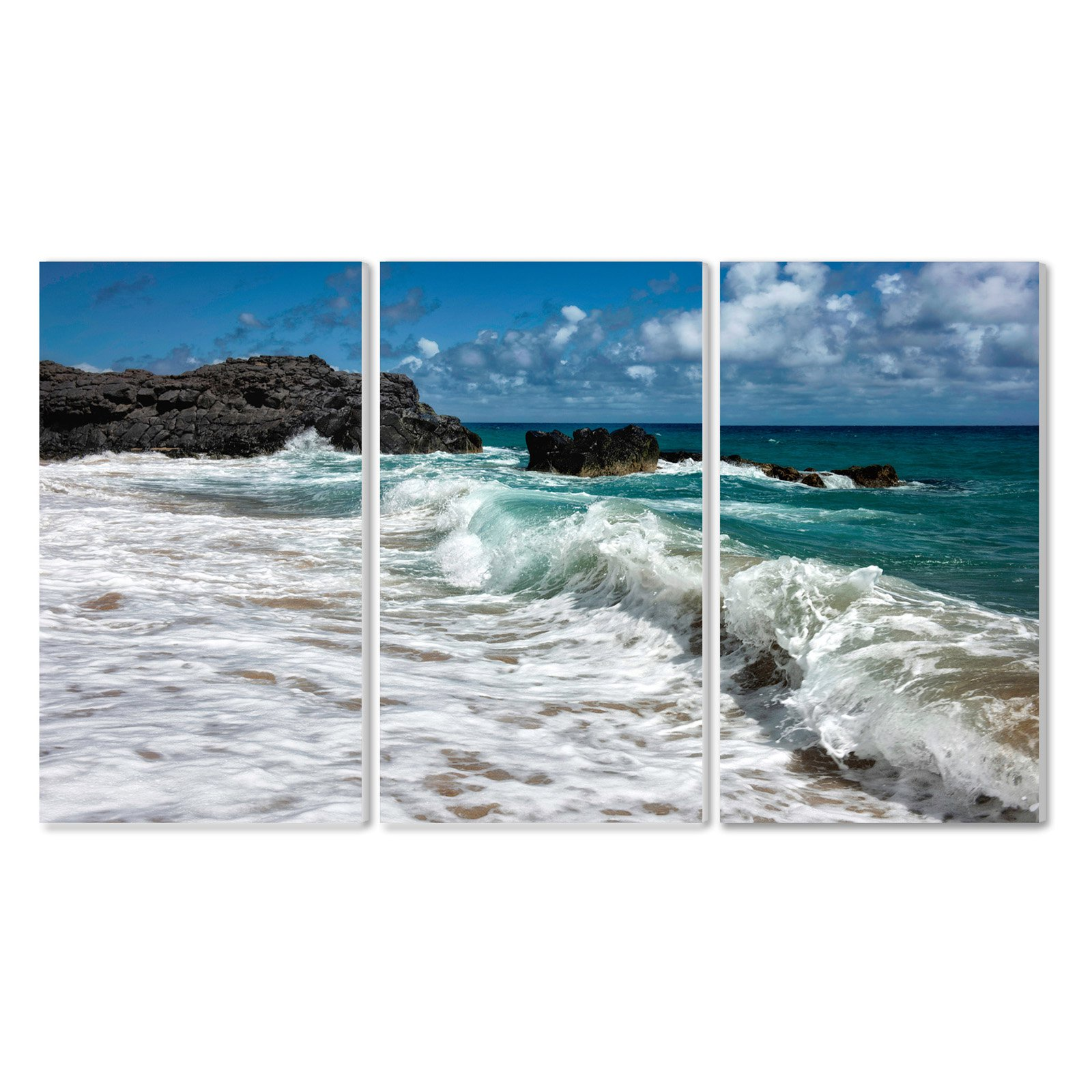 The Stupell Home Decor Collection Breaking Waves Coastal Scene Wall Plaque Art - Set of 3