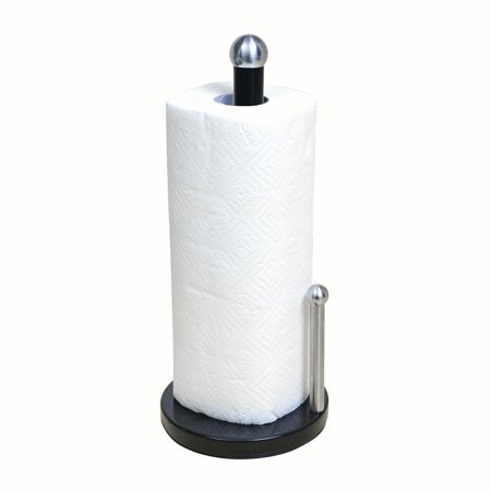 Kitchen Details Paper Towel Holder with weighted base in Black (6 x 6 x 13.8 Inch)