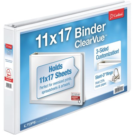 Cardinal, CRD22122, ClearVue Overlay Tabloid D-Ring Binders, 1 Each, White Clearvue Round Ring Binder