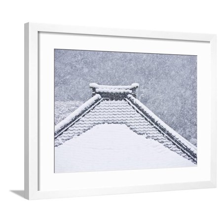 Snow Covered Temple Roof Framed Print Wall Art Walmart Com