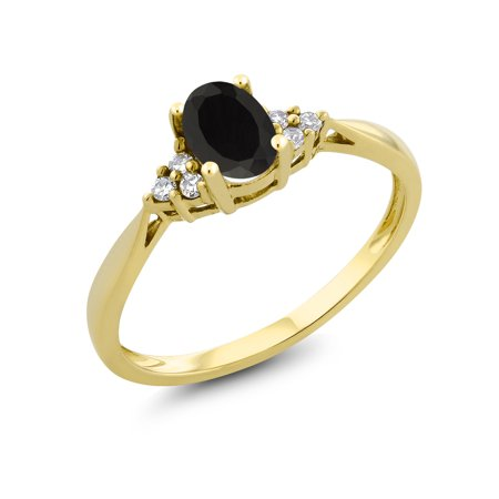 0.39 Ct Oval Black Onyx and Diamond 14K Yellow Gold Ring 14k Gold Oval Onyx Ring