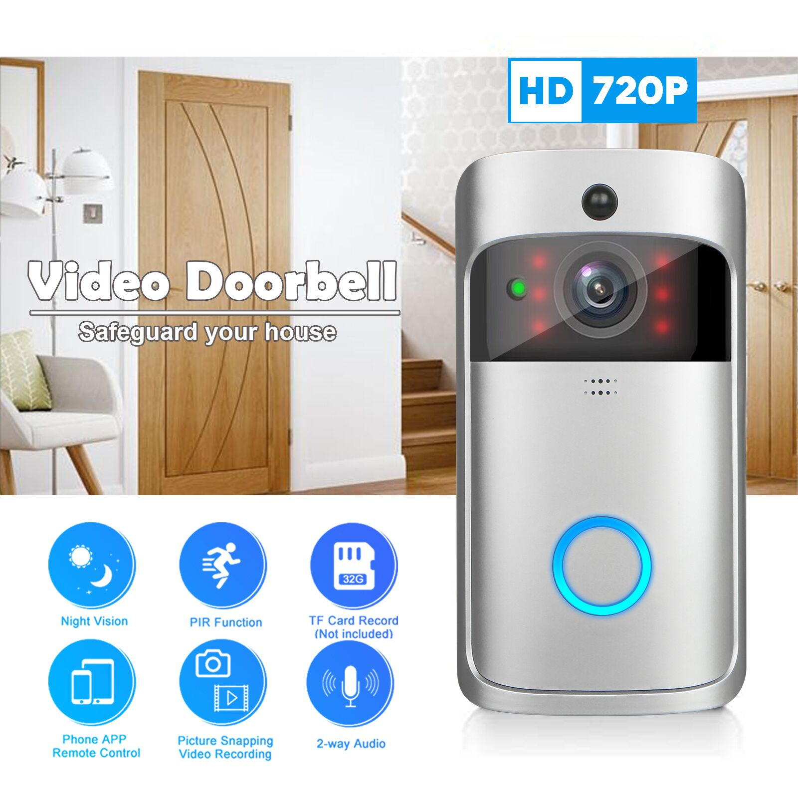 Video Doorbell, WiFi Smart Wireless Doorbell HD Security Camera Two-Way Talk Video, Indoor Chime, Night Vision, Motion Detection, App Control for iOS Android