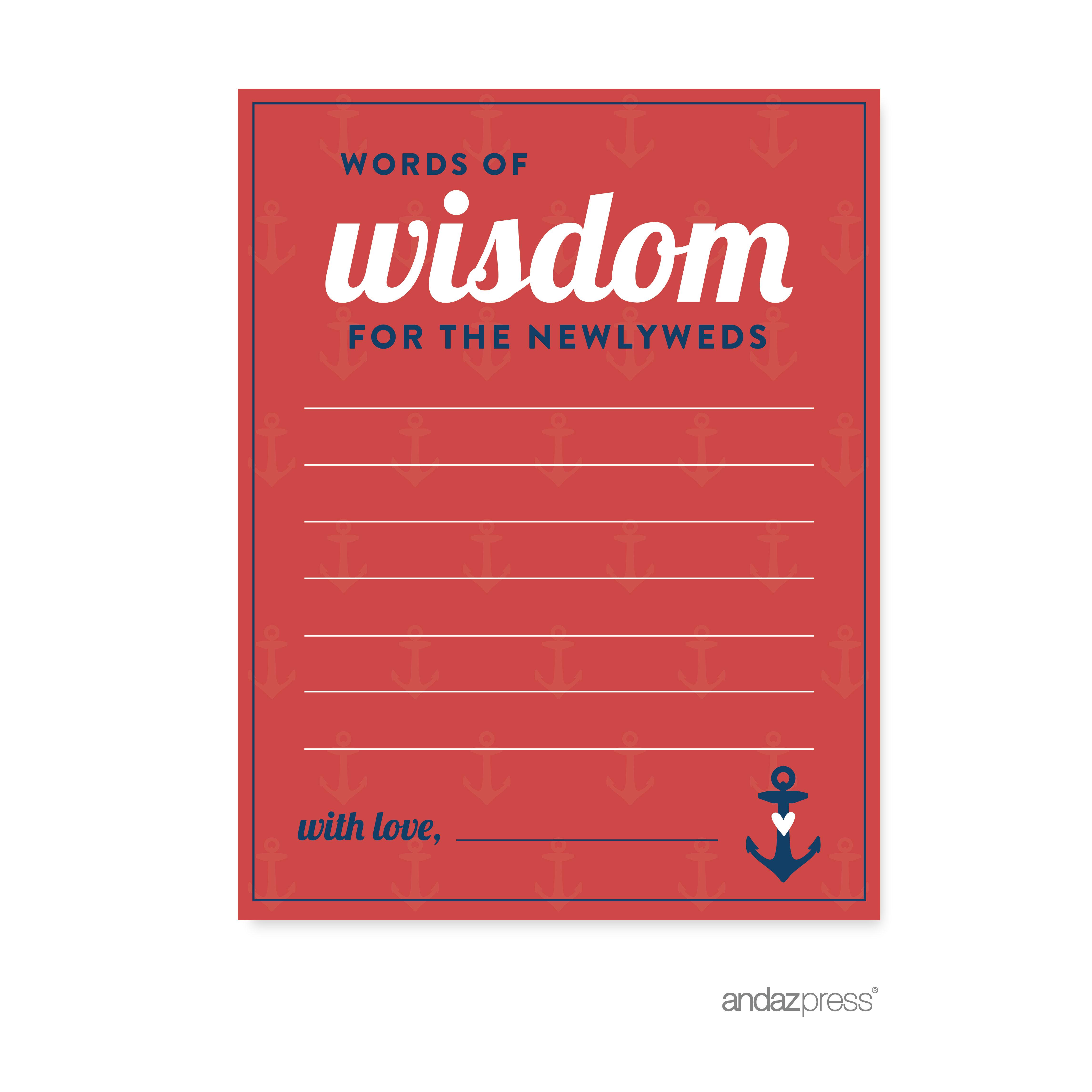 Words of Wisdom - Newlyweds Nautical Ocean Adventure Wedding Cards ...