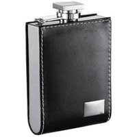 Wallet Black Leatherette 6oz Liquor Flask with Engraving Plate