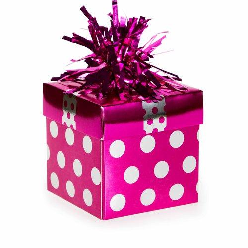 Balloon Weight Foil Gift Box, Pink Dots