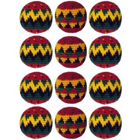 MultiColor Hacky Sack SET OF 3 RASTA RED- Assorted Colors and Geometric Patterns