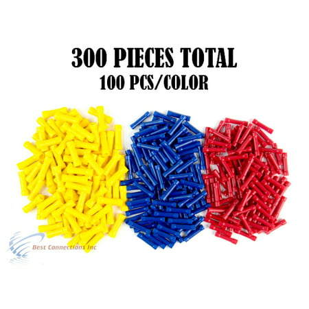 300 PCS Red Blue Yellow Vinyl Butt Connector 22-10 Gauge 12V Electrical