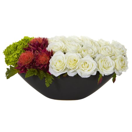Nearly Natural Rose, Tropical Flower and Hydrangea Artificial Arrangement in Black - Tropical Flower