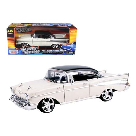 1957 Chevrolet Bel Air Hard Top Cream with Custom Wheels 1/18 Diecast Model Car by