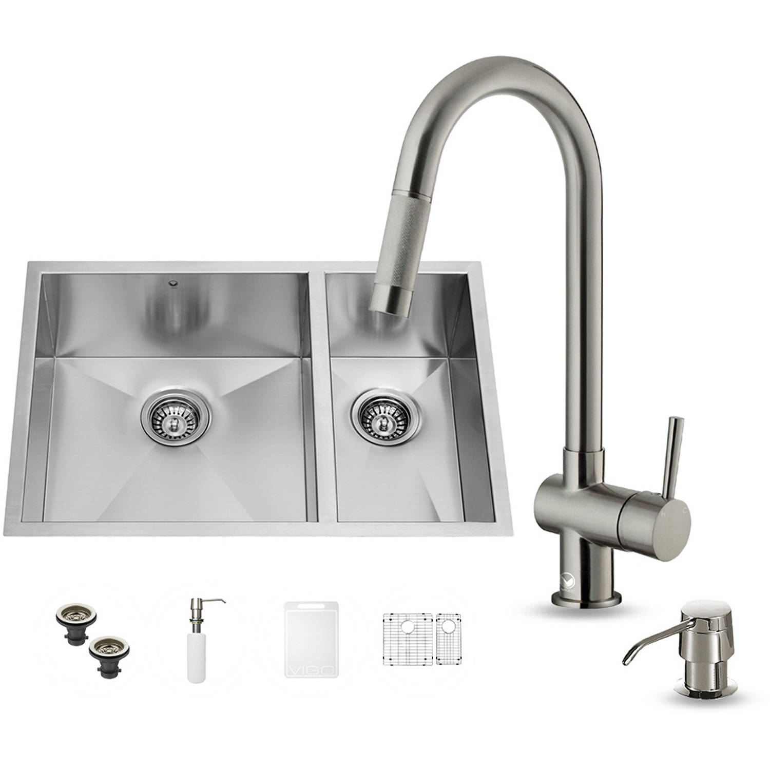 """Vigo All-in-One 29"""" Undermount Stainless Steel Double Bowl Kitchen Sink and Faucet Set"""