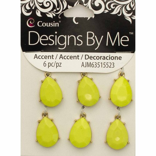 Acrylic and Metal Yellow Teardrop Accent, 6 Piece