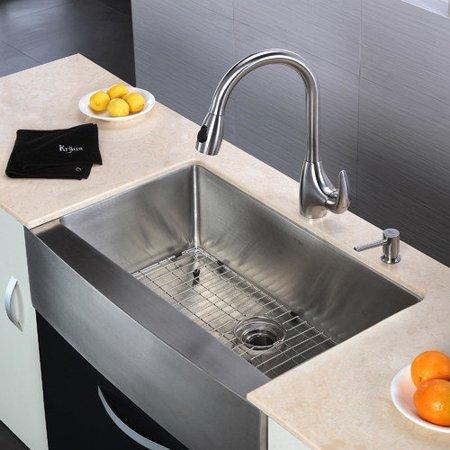 32 Farmhouse Sink : Kraus 32.9 x 20.75 6 Piece Farmhouse Kitchen Sink Set - W...