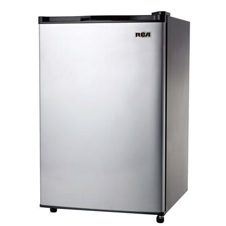 RCA 3.2 Cu Ft Single Door Mini Fridge with Freezer, Stainless Steel