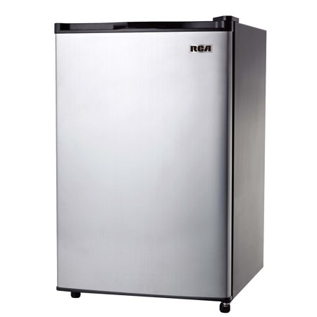 RCA 3.2 Cu Ft Single Door Mini Fridge with Freezer, Stainless Steel ()