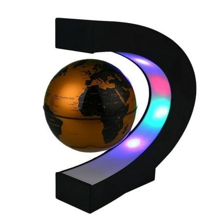 Metallic Silver Floating Globe - Levitation Anti Gravity Globe Magnetic Floating Globe with LED Light Lamp World Map Home Office Table Desktop Decor Knowledge Learning Toys Tool Kid Hobbies (US Plug)
