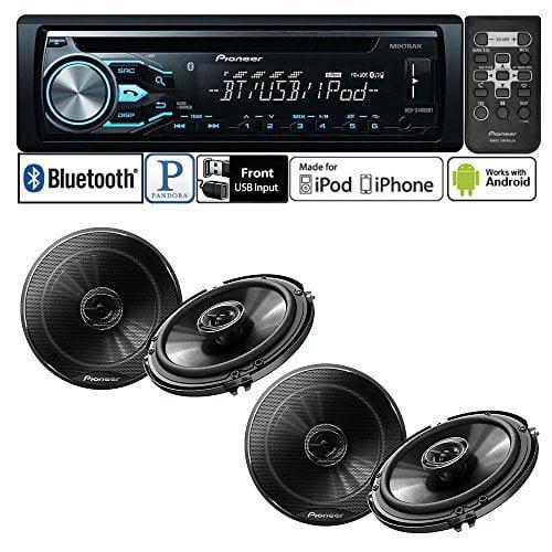"Pioneer DEH-X4800BT Single DIN In-Dash CD AM FM Bluetooth Car Stereo with Pioneer TS-G1645R 250W 6-1 2""... by Pioneer"