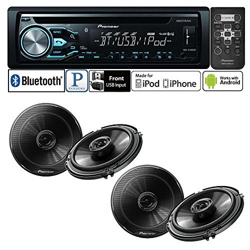 "Pioneer DEH-X4800BT Single DIN In-Dash CD/AM/FM Bluetooth Car Stereo with Pioneer TS-G1645R 250W 6-1/2"" 2-Way G-Series Coaxial Car Speakers ( 2 PAIRS)"