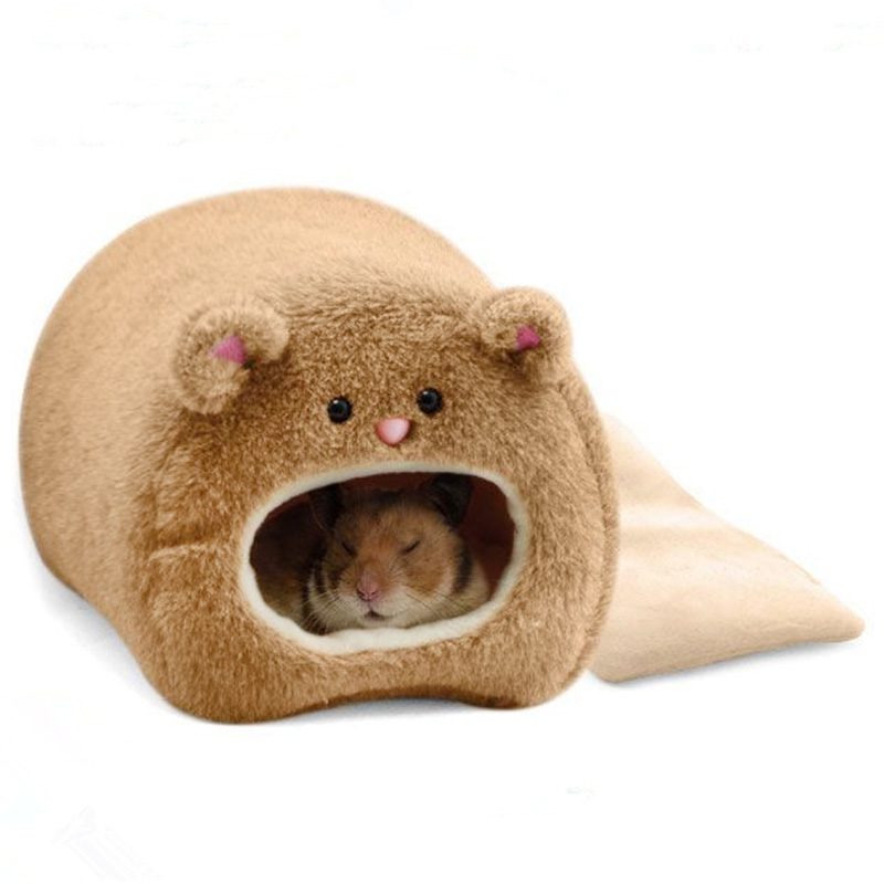 Hamster Winter Warm Cage Bear Shape Fleece House with Bed Mat for Small Pet by