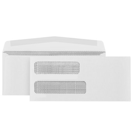 Double Window Statement Envelopes - Blue Summit Supplies 500 #10 Gummed Double Window Security Envelopes-Perfect Size for Multiple Business Statements, Quickbooks Invoices, and Return Envelopes -4 1/8 X 9 ½