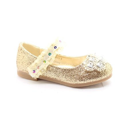 Little Girls Gold Glitter Lace Sequin Stone Adorned Dress Shoes - Glitter Shoes Girls