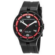 Porsche Design Men's Flat 6 Auto Black Rubber Dial Watch - porsched-6351-43-44-1254