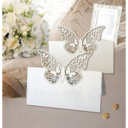 Pack of 48 Laser Cut Butterfly Vine Wedding Table Number Name Place Card Wedding Party Decoration Favor - Halloween Party Names Clever