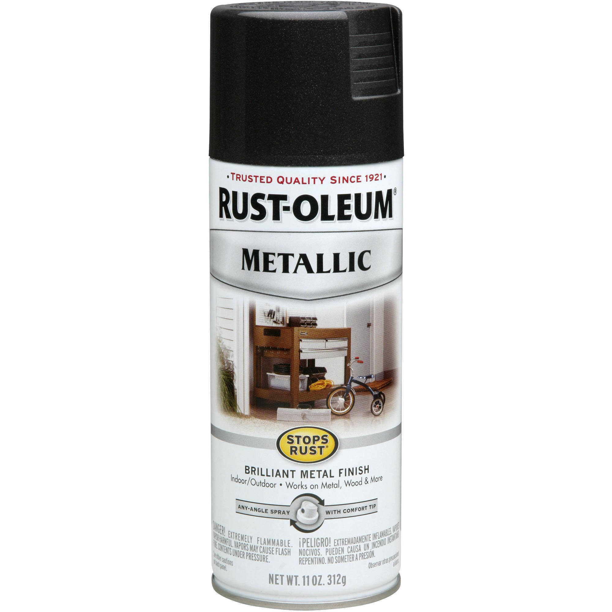 Rust-Oleum Stops Rust Black Night Metallic Brilliant Metal Finish Spray, 11 oz