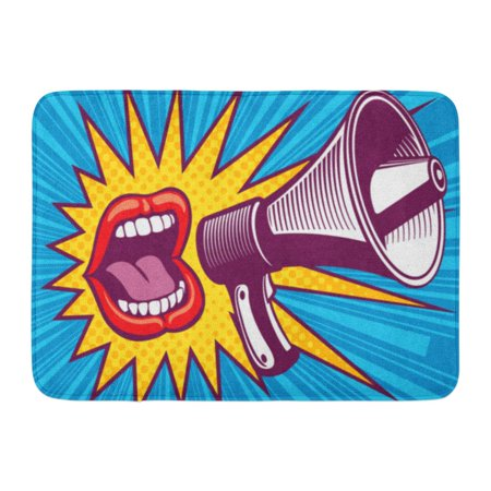 GODPOK Colorful Shout Girl Mouth with Megaphone in Pop Style and Speech Screaming Announce Abstract Rug Doormat Bath Mat 23.6x15.7 inch - Screaming Doormat