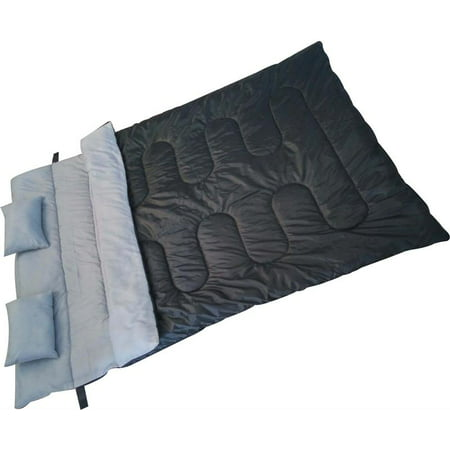 Double Sleep Bag Waterproof with Two Pillows- Black (Pillow Sleeping Bag)