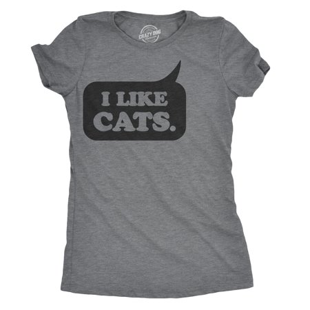 Womens I Like Cats Speech Bubble Tshirt Funny Crazy Cat Lady Tee