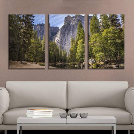 wall26 - 3 Panel Canvas Wall Art - Majestic Natural Landscape Triptych Canvas Series - Yosemite - Giclee Print Gallery Wrap Modern Home Decor Ready to Hang - 16