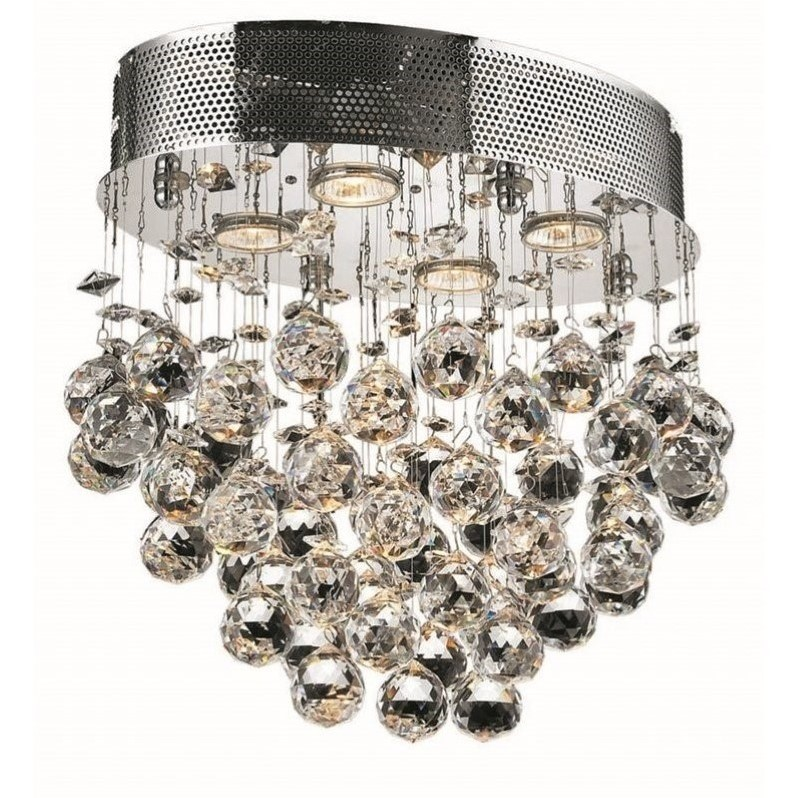 "Elegant Lighting Galaxy 12"" 4 Light Elegant Crystal Flush Mount"
