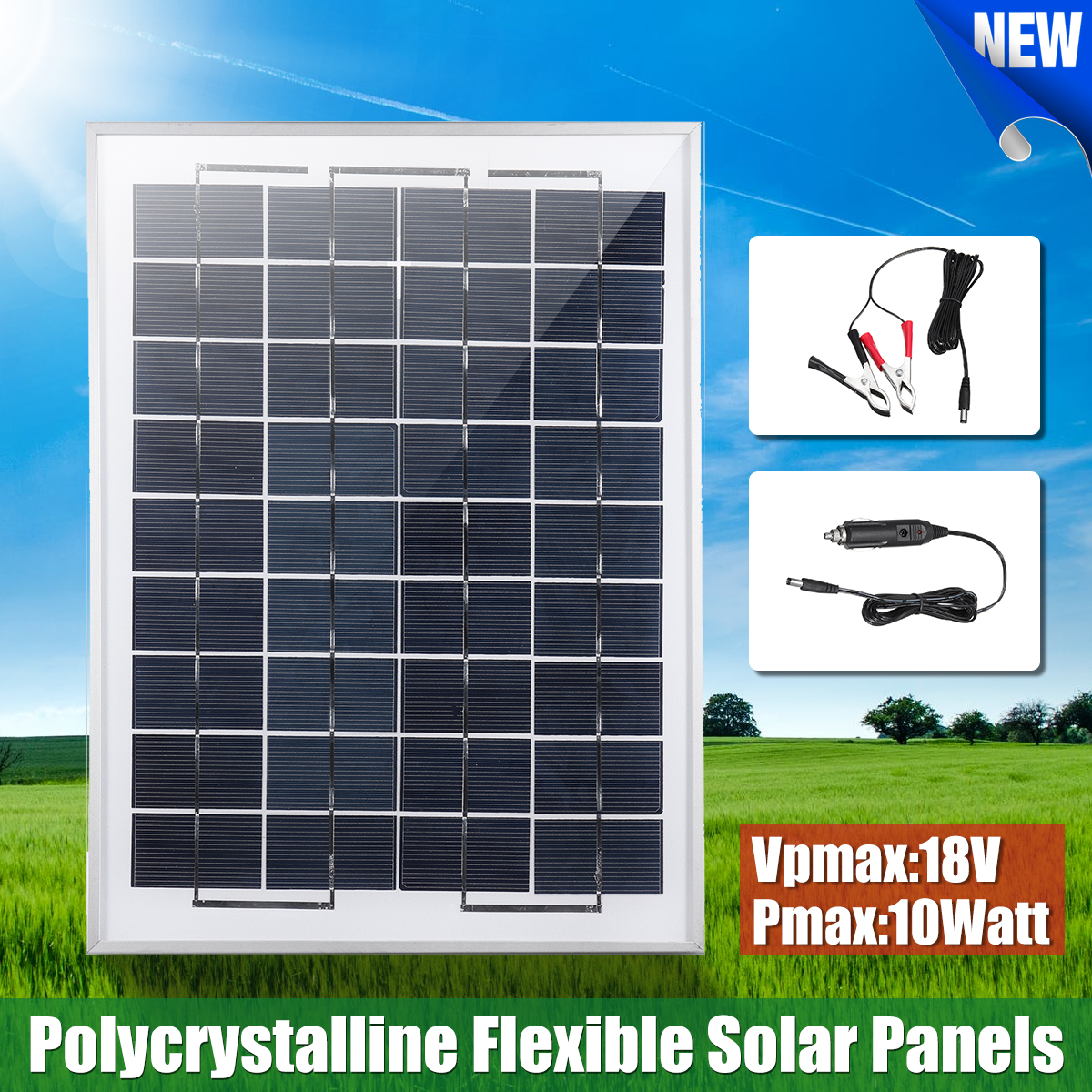 10W 12V Poly A-Class Solar Panel Battery Charger w// Car Charger Crocodile