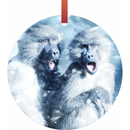 Whimsical Monkeys in the Snow  Flat Round - Shaped Christmas Holiday Hanging Tree Ornament Disc Made in the U.S.A.