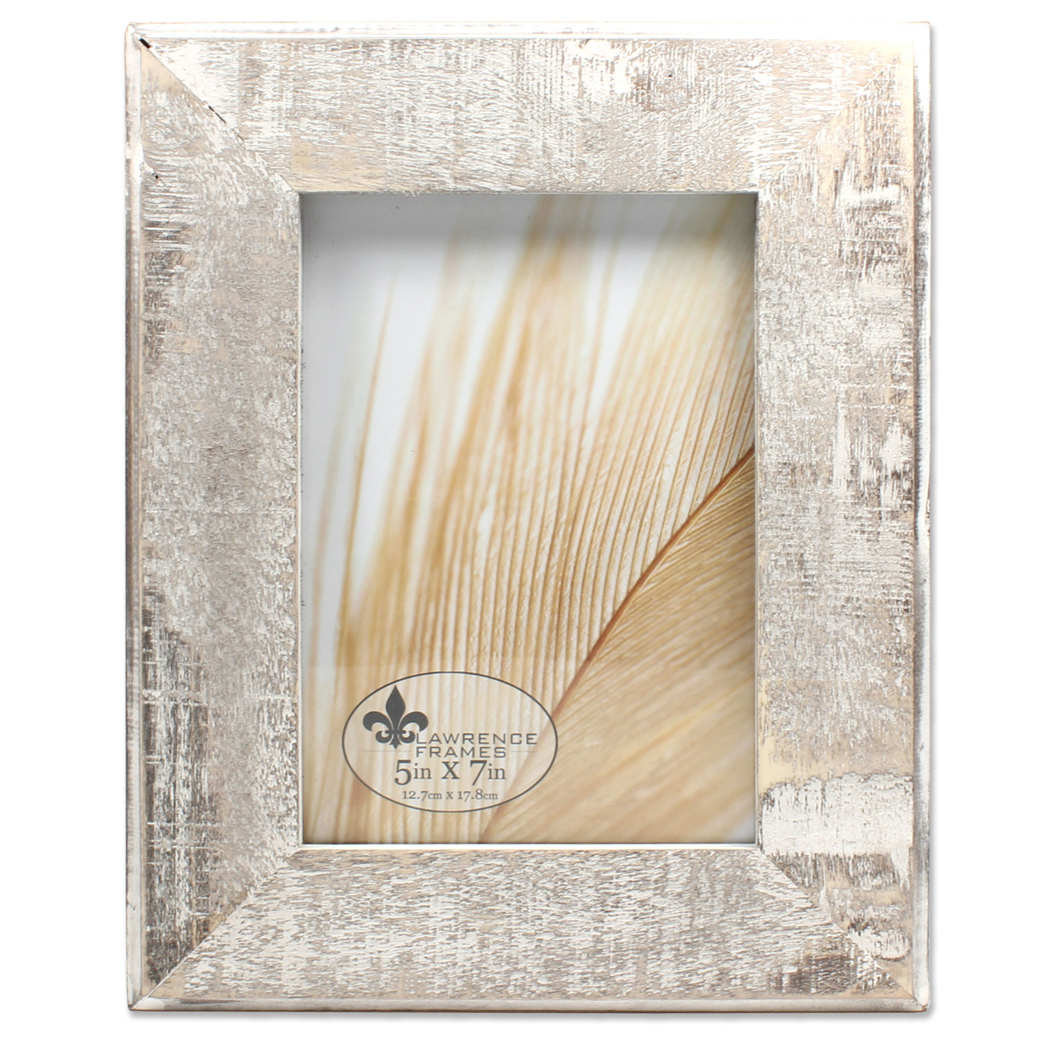 5x7 Distressed Gray Wood With White Wash Picture Frame by Lawrence Frames