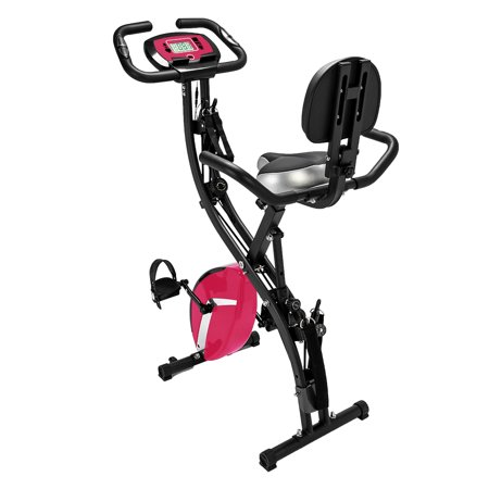 Folding Upright Exercise Bike, 3-in-1 Foldable Indoor Semi Recumbent Cycling Bikes, Stationary Bike Exercise Equipment w/ 8 Levels Magnetic Resistance, Anti-slip Pedal Holds 260 lbs, Pink, Q5256 ()