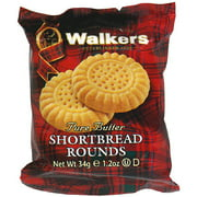 Walkers Pure Butter Shortbread Cookie Rounds, 1.2 oz, (Pack of 22)