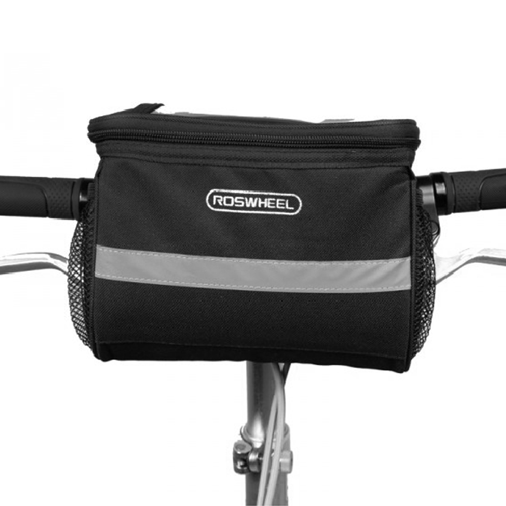 Reflective Bicycle Handlebar Basket Insulated Cooler Bag Outdoor Cycling Mountain Bike Front Tube Bag Pack