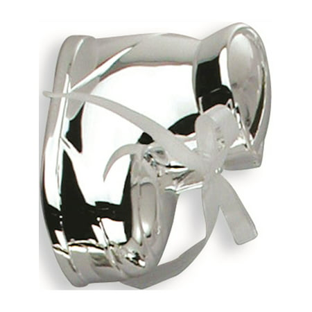 - Interchangeable Ribbon Baby Bootie Silver-Plated Polished Metal Bank Designer Jewelry by Sweet Pea