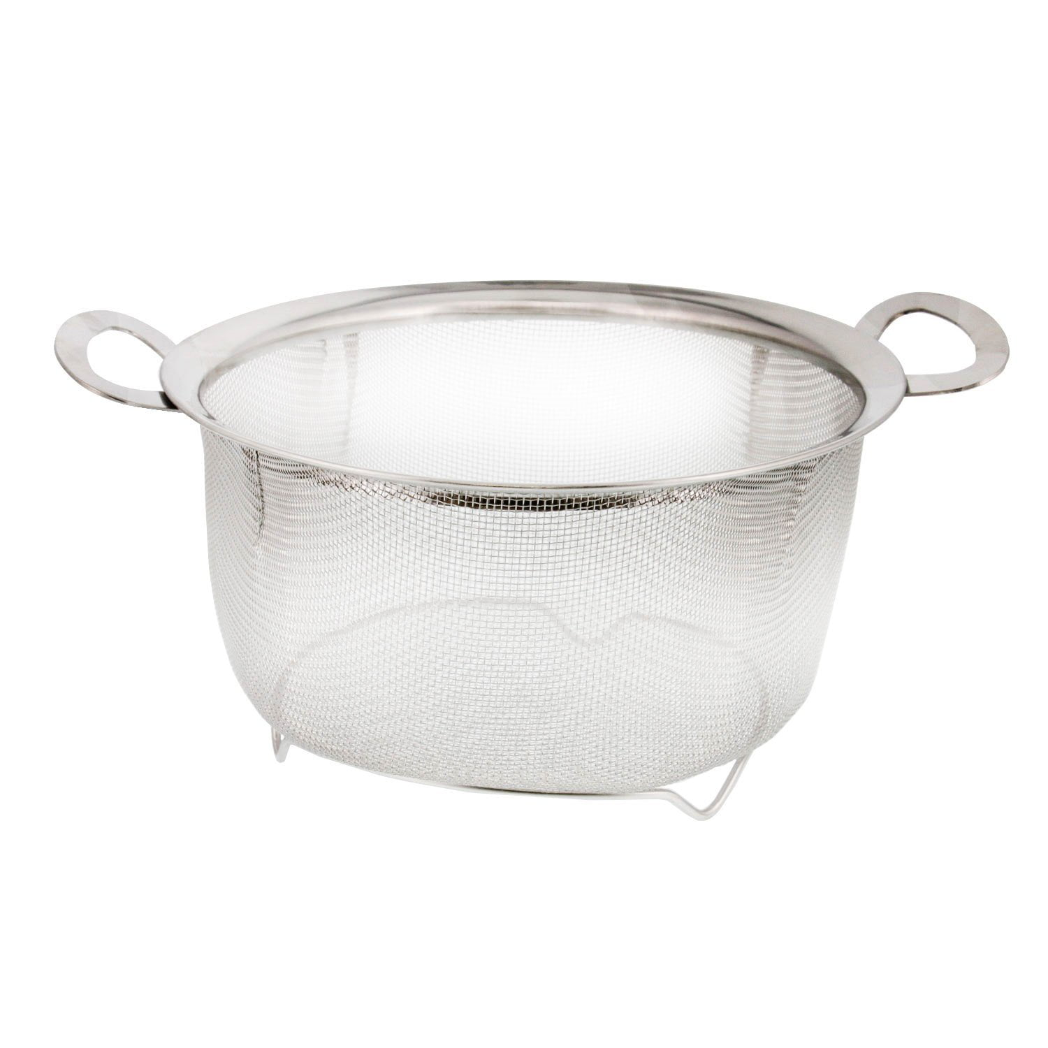 3 Quart Stainless Steel Mesh Net Strainer Basket with a Wide Rim, Resting Feet and Handles Colander to Strain,... by