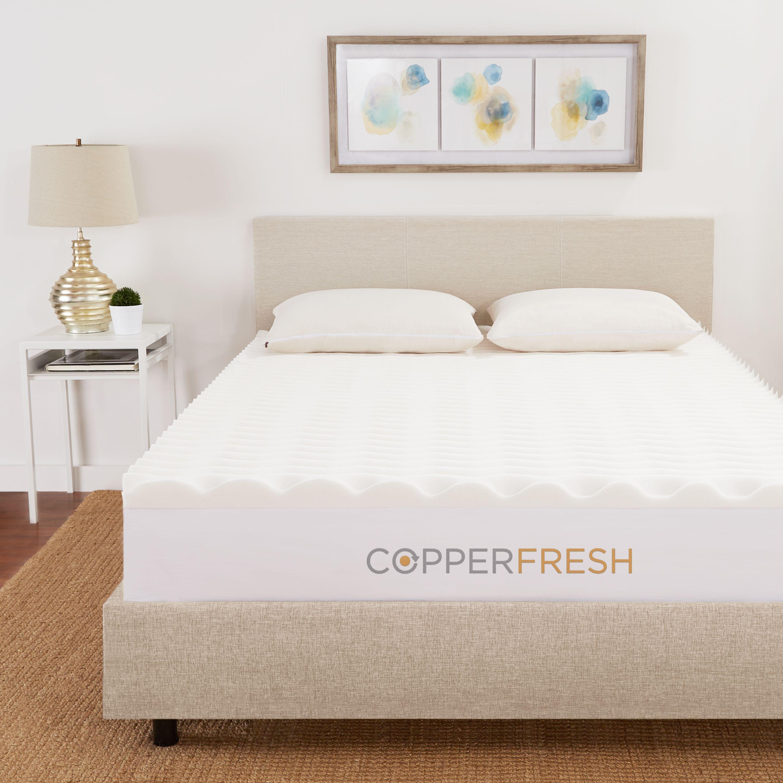 Sleep Studio Copperfresh Wave 4 Inch Foam Mattress Topper Walmart Com